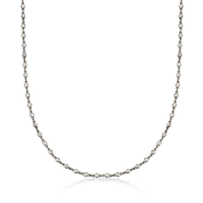 "C. 2000 Vintage 1.35 ct. t.w. Diamond Necklace in Platinum. 16"""