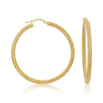 14kt Yellow Gold Twist Hoop Earrings, , default