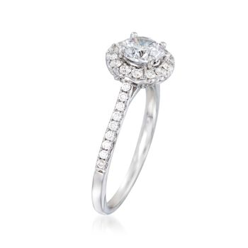 .39 ct. t.w. Diamond Halo Engagement Ring Setting in 14kt White Gold, , default