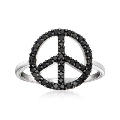.80 ct. t.w. Black Spinel Peace Sign Ring in Sterling Silver