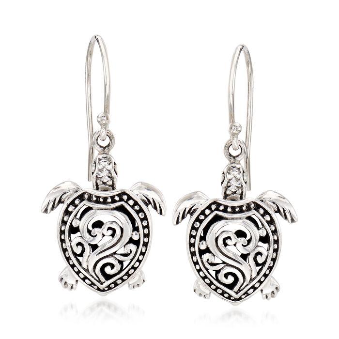 Sterling Silver Filigree Turtle Drop Earrings