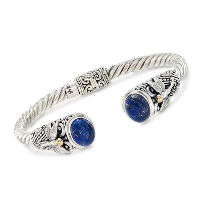 Lapis and Two-Tone Sterling Silver Dragonfly Cuff Bracelet, , default