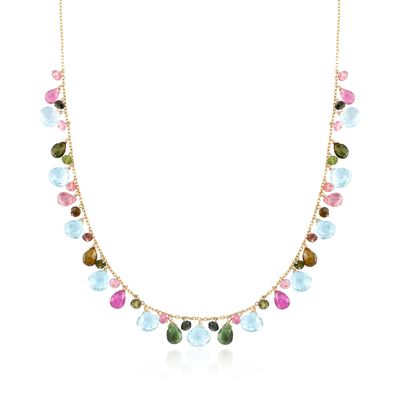 16.25 ct. t.w. Multicolored Tourmaline and 18.00 ct. t.w. Blue Topaz Bead Necklace in 14kt Yellow Gold, , default