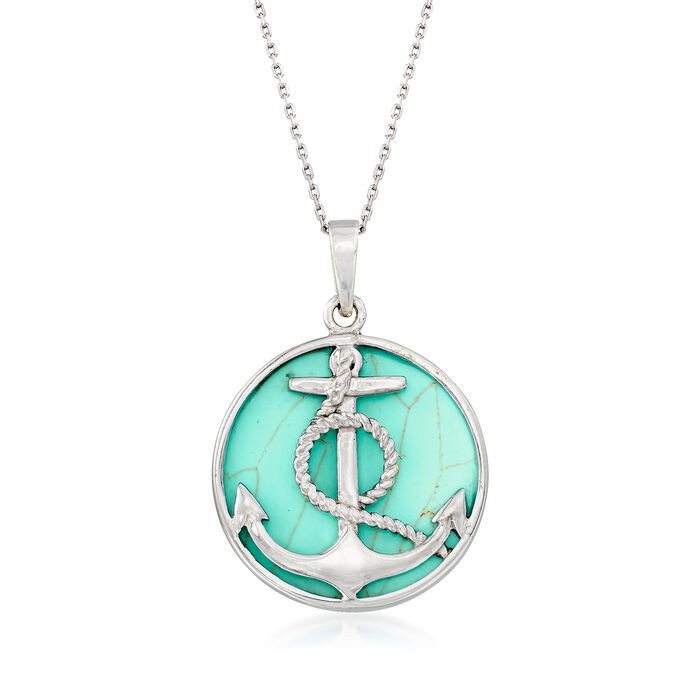 Synthetic Turquoise Anchor Necklace in Sterling Silver