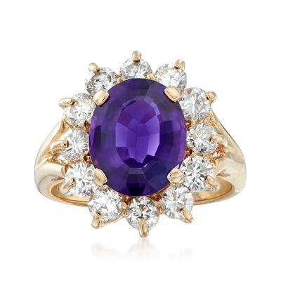 C. 1990 Vintage 2.67 Carat Amethyst and .90 ct. t.w. Diamond Ring in 14kt Yellow Gold