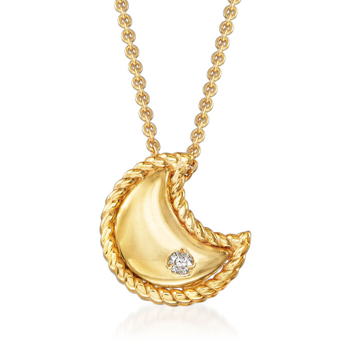 """Phillip Gavriel """"Italian Cable"""" Moon Pendant Necklace with Diamond Accent in 14kt Yellow Gold"""