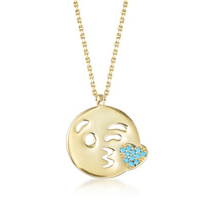 14kt Yellow Gold Over Sterling Kiss Emoji Necklace with Simulated Turquoise , , default