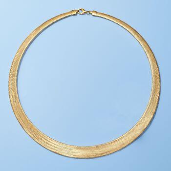 Italian 18kt Yellow Gold Lightweight Mesh Collar Necklace, , default