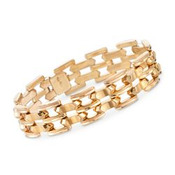 "C. 1950 Vintage 18kt Yellow Gold Stacked Link Bracelet. 7"", , default"