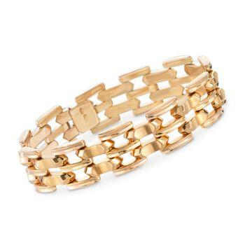 """C. 1950 Vintage 18kt Yellow Gold Stacked Link Bracelet. 7"""", , default"""
