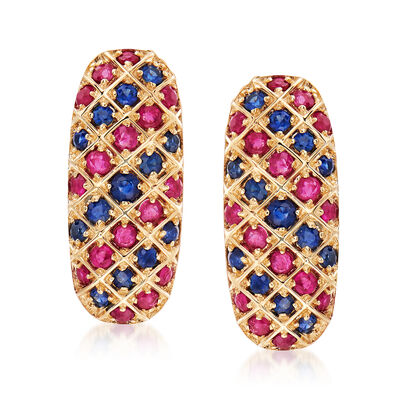 .90 ct. t.w. Ruby and .60 ct. t.w. Sapphire Drop Earrings in 14kt Yellow Gold, , default