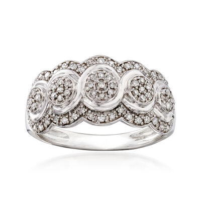 .20 ct. t.w. Diamond Scalloped Ring in Sterling Silver, , default