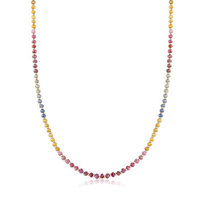 57.00 ct. t.w. Multicolored Sapphire Bead Necklace in 14kt Yellow Gold, , default