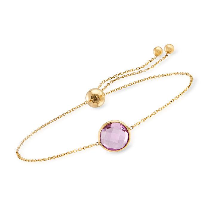 2.00 Carat Amethyst Bolo Bracelet in 14kt Yellow Gold