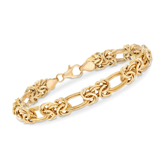 "Italian Byzantine and Double-Link Bracelet in 14kt Yellow Gold. 7"", , default"