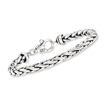Zina Sterling Silver Wheat Chain Bracelet, , default
