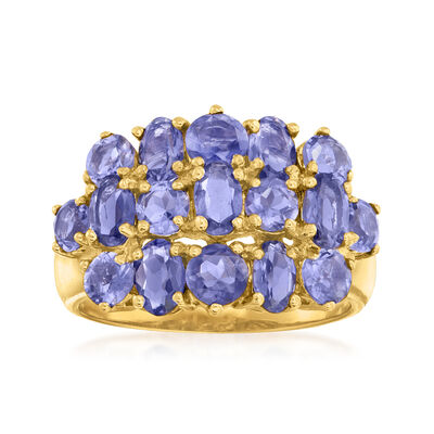 C. 1990 Vintage 3.25 ct. t.w. Amethyst Cluster Ring in 14kt Yellow Gold