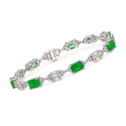 6.50 ct. t.w. Emerald and 3.10 ct. t.w. Diamond Bracelet in 14kt White Gold, , default
