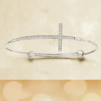 Sterling Silver Sideways Cross Bangle Bracelet with Diamond Accents , , default