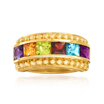 2.10 ct. t.w. Multi-Gemstone Ring in 18kt Gold Over Sterling, , default
