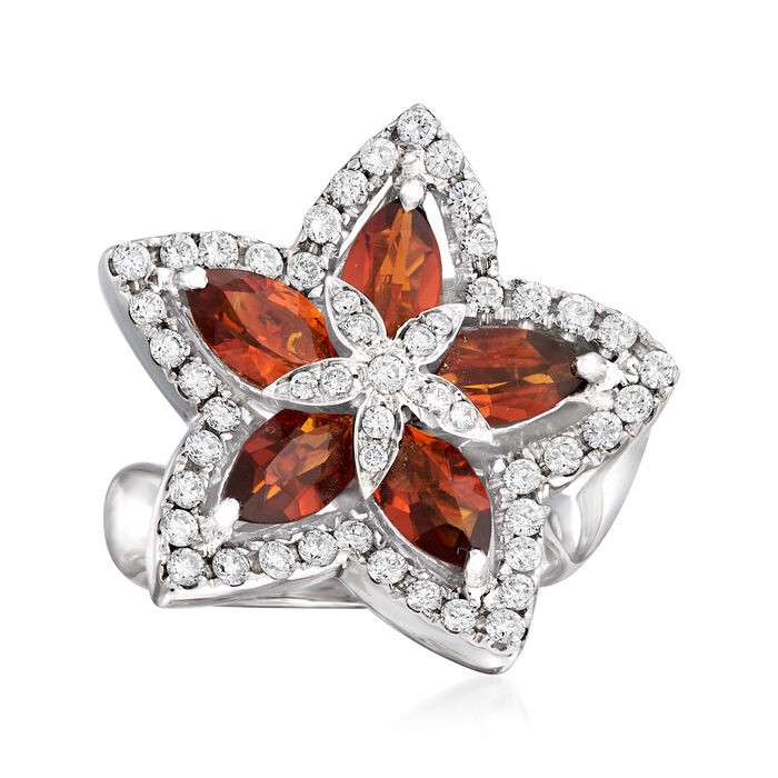 C. 1990 Vintage 2.20 ct. t.w. Citrine and .78 ct. t.w. Diamond Flower Ring in 18kt White Gold. Size 5.5, , default