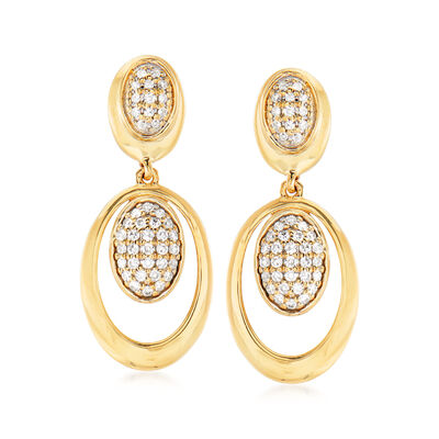 .15 ct. t.w. Pave Diamond Oval Drop Earrings in 14kt Yellow Gold