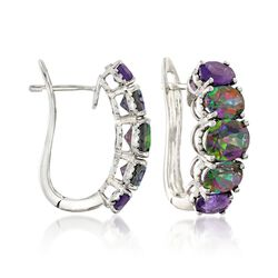 6.40 ct. t.w. Multicolored Topaz and 1.60 ct. t.w. Amethyst Graduated Hoop Earrings in Sterling Silver, , default