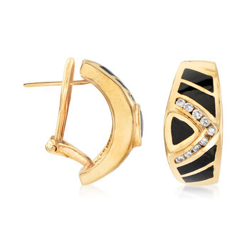 C. 1980 Vintage Black Onyx and .36 ct. t.w. Diamond Earrings in 14kt Yellow Gold