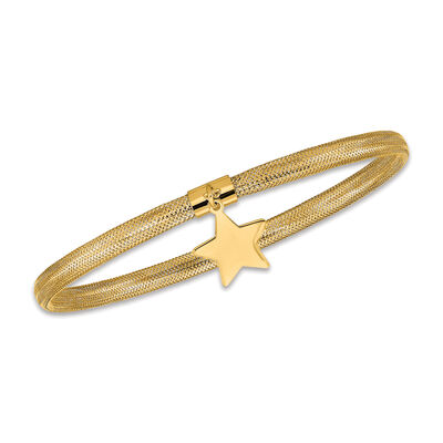 Italian 14kt Yellow Gold Star Dangle Mesh Bracelet