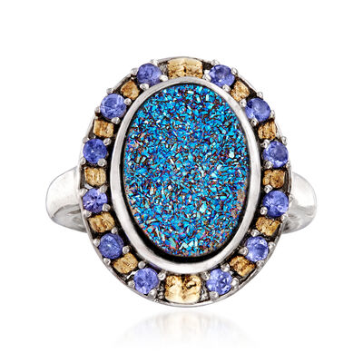Blue Drusy and .30 ct. t.w. Tanzanite Ring in Sterling Silver and 18kt Gold Over Sterling, , default