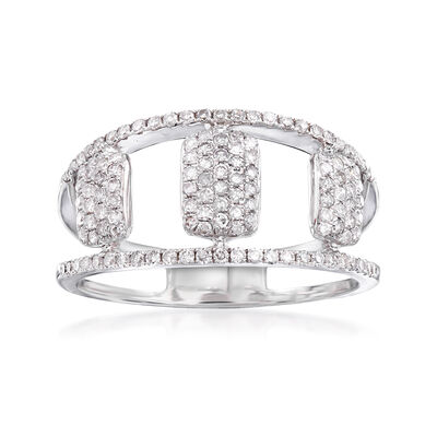 .45 ct. t.w. Pave Diamond Openwork Ring in 14kt White Gold