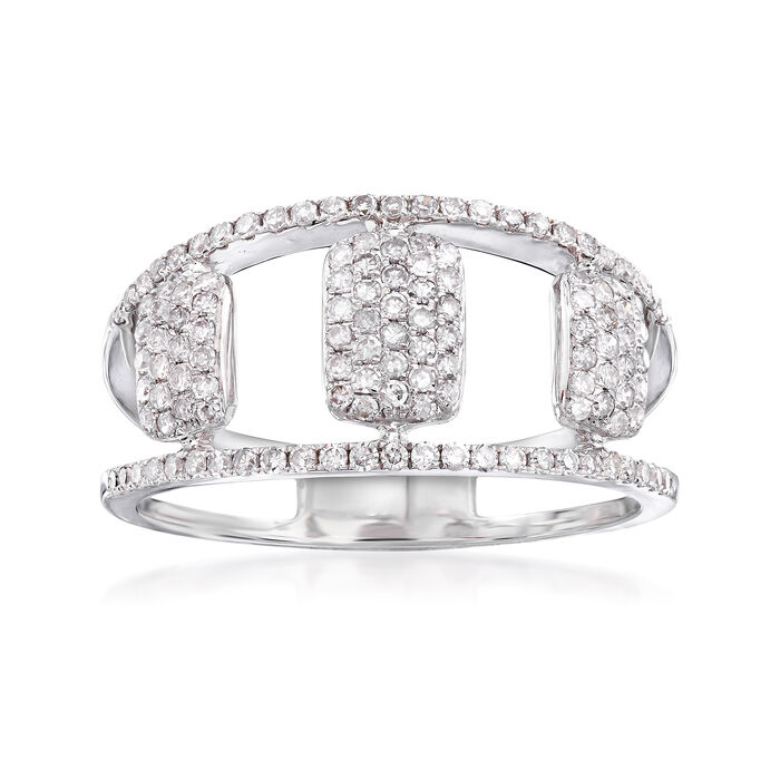 .45 ct. t.w. Pave Diamond Openwork Ring in 14kt White Gold, , default