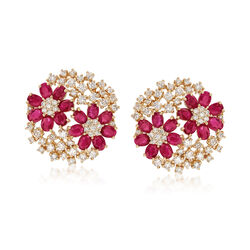 5.25 ct. t.w. Ruby and 2.25 ct. t.w. Diamond Flower Earrings in 14kt Yellow Gold, , default
