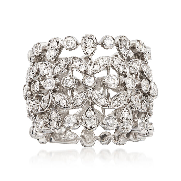 C. 1980 Vintage 1.45 ct. t.w. Diamond Multi-Band Ring in 18kt White Gold. Size 6.5, , default