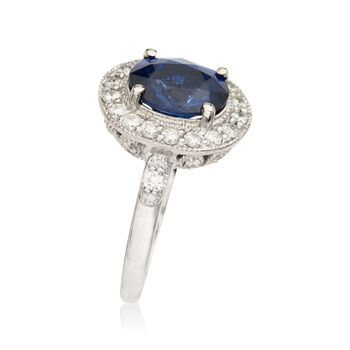 3.05 Carat Sapphire and .50 ct. t.w. Diamond Ring in 14kt White Gold, , default