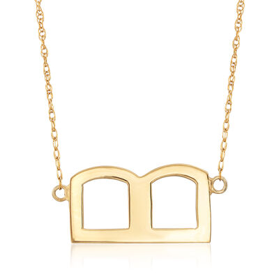 Sideways Block Single Initial Necklace in 18kt Yellow Gold Over Sterling, , default