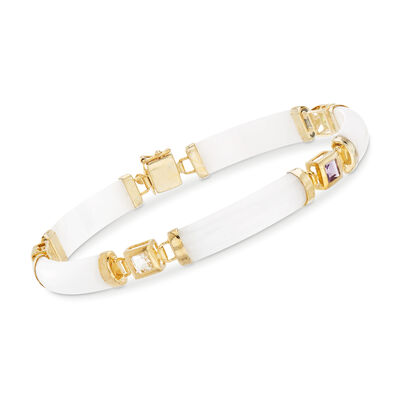 1.40 ct. t.w. Multi-Stone and White Jade Bar Bracelet in 14kt Gold Over Sterling, , default