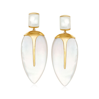 Mother-Of-Pearl Drop Earrings in 14kt Yellow Gold
