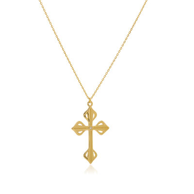 Diamond-Accented Cross Pendant Necklace in 14kt Yellow Gold, , default