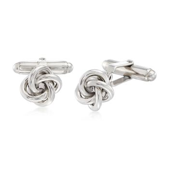 Men's Sterling Silver Knot Cuff Links , , default