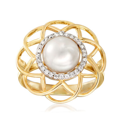 8.5-9mm Cultured Pearl and .11 ct. t.w. Diamond Ring in 14kt Yellow Gold, , default