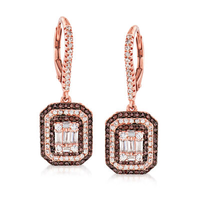 1.18 ct. t.w. Two-Tone CZ Drop Earrings in 18kt Rose Gold Over Sterling