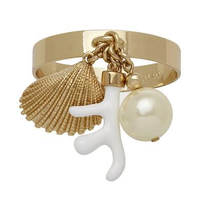 Joanna Buchanan Set of 4 Cream Seashell and Coral Napkin Rings