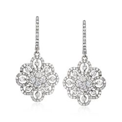 2.12 ct. t.w. Diamond Floral Drop Earrings in 14kt White Gold, , default