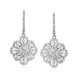 2.12 ct. t.w. Diamond Floral Drop Earrings in 14kt White Gold, , default