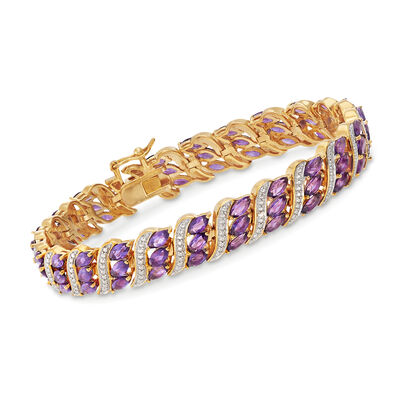 7.50 ct. t.w. Amethyst Bracelet with Diamond Accent in 18kt Gold Over Sterling, , default