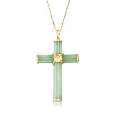 Green Jade Cross Pendant Necklace in 14kt Yellow Gold, , default