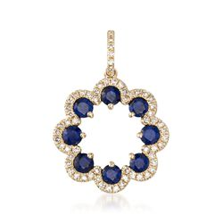 .90 ct. t.w. Sapphire and .22 ct. t.w. Diamond Pendant in 14kt Yellow Gold, , default