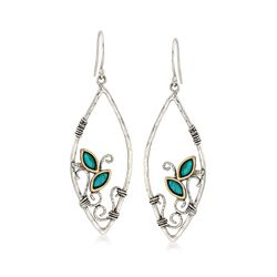 Marquise Turquoise Open Teardrop Earrings in Sterling Silver and 14kt Gold, , default