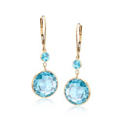 15.20 ct. t.w. Blue Topaz Drop Earrings in 14kt Yellow Gold, , default
